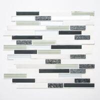 selbstklebende Mosaik Stäbchen Glas Naturstein Stahl grau Küchenwand WB200-8CM08