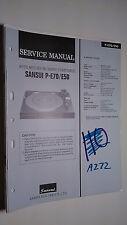 Sansui p-e70 e50 service manual original repair book stereo turntable