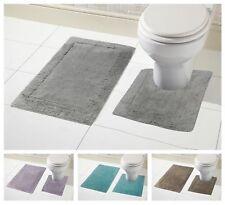 100% Cotton 2pc Bath & Pedestal Mat Sets Non Slip Water Absorbent Bathroom Rugs