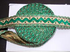 35 mm vert or Cristal brodé ruban Applique Parage decor tresse