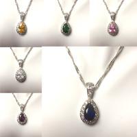 PE 38 Diamond & pear cut zirconia 18k white gold gf pendant + chain BOXD Plum UK