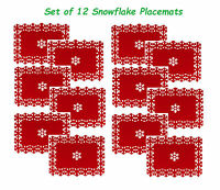 Set of 12 Beautiful Christmas Placemats Snowflake Lazercut Red Felt Table Decor