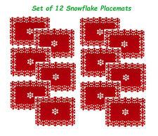 Set of 12 Beautiful Christmas Placemats Snowflake Lazercut Red Felt Table Decor