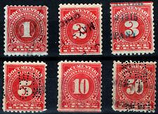 USA - Sc #R196 to 198, 200, 201, 204 Documentary Revenue Stamps Rose Color