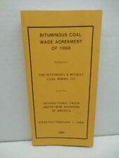 Coal Mining Memorabilia UMWA Bituminous Coal Wage Agreement Book 1988 P&M