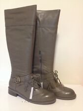NIB Anthropologie Lucky Penny Dawn Gray Leather Knee Boots *Buckle & Tassels 7.5