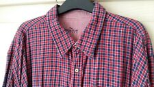 XXXL Navy & Red Small check Brushed Savile Row Mens 3XL Casual Shirt Cotton *NEW