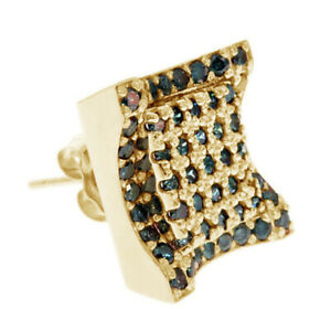 2/3 Ct Round Cut Blue Simulated 14K Yellow Gold Over Cluster Stud Earrings