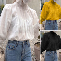 UK Women Work Shirt Pleated Blouse Solid Office Ladies Long Sleeve Top Plus Size
