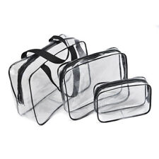 3/kit Clear Plastic Cosmetic Bag Organizer Toiletry Travel Pouch Bags Zipper