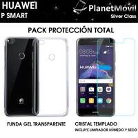 PACK FUNDA TRANSPARENTE + PROTECTOR CRISTAL VIDRIO TEMPLADO HUAWEI P SMART
