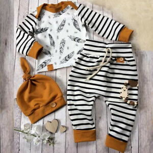 Newborn Baby Boys 3pcs Set Striped Clothes Long Sleeve Tops Pants Hat Outfits UK