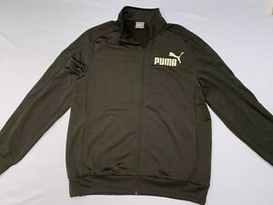 Mens Puma Tracksuit Jacket Black Zip Up Track Top Training Jacket Size UK L