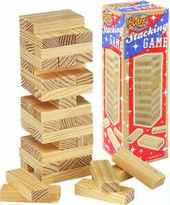 WOODEN BLOCK TOWER GAME TUMBLING STACKING JENGA WOOD FUN CHILDREN KIDS GAME - UK
