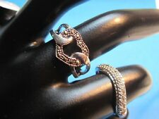 Premier Design - 2 Rings - Wavy Band with Crystals - Heart with Marcasite