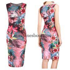 Lipsy 10 Tropical Floral Pink  Multi Bodycon Midi Dress BNWOT