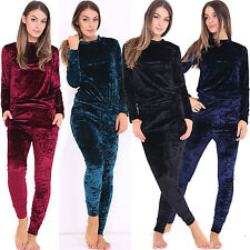 Women Crushed Velvet Tops Joggers 2Pcs Suit Lounge Wear Track Suit Set Sportwear