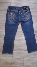 Miss Me Blue Jean Capri Pants Fleur De Lis Embellished Rhinestones Size 25