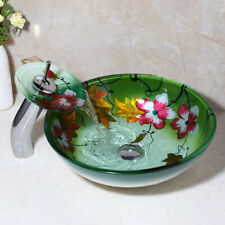 R Bathroom Lotus Flower Painting Glass Wash Basin Vessel Sink &Chrome Faucet