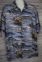 Original Island Hawaiian Shirt Mens Size Large L Rayon Blue Beach Tropical Aloha