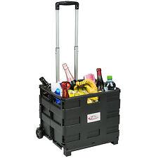 Carrito de la compra plegable 35kg carro con ruedas cesta box plástico ABS negro