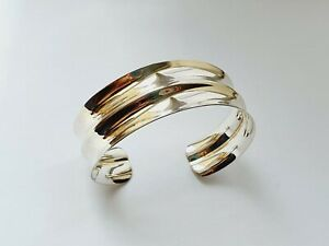 Gorgeous Sterling Silver Wide Cuff Bangle 24.37gr Sheffield