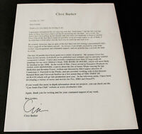 Clive Barker TLS Typed Letter SIGNED Galilee The Thief of Always Great Content!