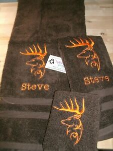 Tribal Buck Personalized 3 Piece Bath Towel Set Browning Buck Your Color Choice