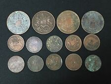 British Colonial Trade. East India Co.  Quarter & Half Anna Coins. 14 Coins