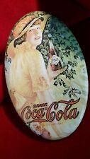 Vintage Coca Cola 1973 Memorabilia Cosmetic Mirror Oval Purse Size Metal Frame