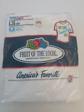 90' Vintage Fruit Of Loom 3 White Crew T-shirts L(42-44) Made In USA