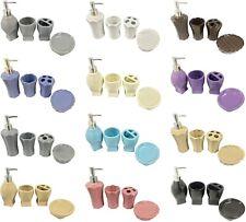 Ceramic 4-Piece Bath Accessory Set, Soap Dish, Dispenser, Brush Holder, Tumbler