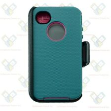 For iPhone 4/4S Defender CYAN PINK Case Cover with (Clip fit otterbox)&Screen