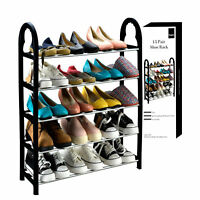 5 TIER SHELF SHOES ORGANIZER STAND ADJUSTABLE SHOE STORAGE RACK SPACE SAVING