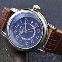 43mm Corgeut Blue Dial Silver Hand GMT Date Window Automatic Men's Wristwatches