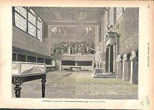 VERSAILLES Salle du Jeu de paume GRAVURE OLD ANTIQUE PRINT 1883