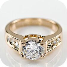 18K ROSE GOLD GP SIMULATED DIAMOND ENGAGEMENT WEDDING RING US 7 UK AU O