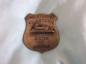 True Vintage Western Atlantic R.R. Confederate Stars Of America Badge Authentic