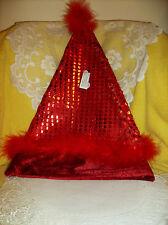 Red Sequin Santa Hat Size Large NEW! Adult or Kids Party Hat Cap Pailettes Fur