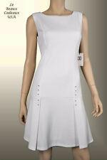 IVANKA TRUMP Women Dress Sze 14 WHITE Metal Accent Sleeveless Knee Dressy LBCUSA