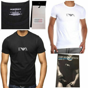Emporio Armani 2-Pack Men's T-shirt Crew Neck Stretch in Black/White -Sizes S-XL