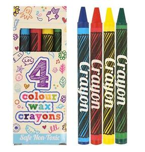 5 to 250 Packs Of 4 Mini Colouring Wax Crayons Party Bag Pinata Fillers