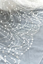 Embroidered Lace Evening Wedding Dress Tulle Mesh Lace Fabric One Meter LS51