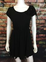 Forever 21 womens black tulle embellished tunic dress top sz S shimmer insets