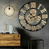Vintage Handmade Clock Large Gear Wall Clock Rustic Wooden Luxury Art Home Decor
