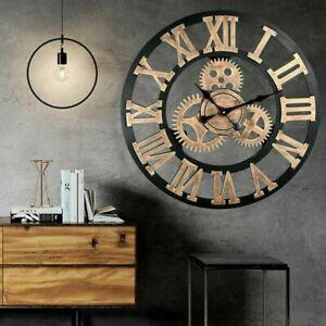 Vintage Handmade Clock Large Gear Wall Clock Rustic Wooden Luxury Art Home Decor