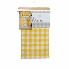 Yellow 3 Piece Kitchen Curtain Set: Plaid,Checkered,Gingham, 1 Valance, 2 Panels