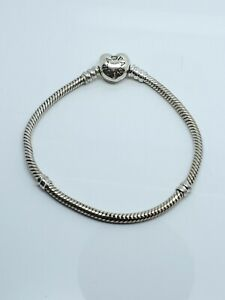 "Authentic Pandora Heart Clasp Charm Bracelet 925 Sterling Silver 7"""
