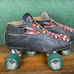 Vintage Riedell Black Leather Roller Skates Size 10 1/2 Hyper Cannibal Wheels