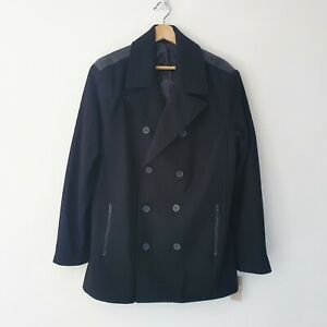 Kenneth Cole Reaction Mens Size S Black Wool Mix Double Breasted Jacket Pea Coat